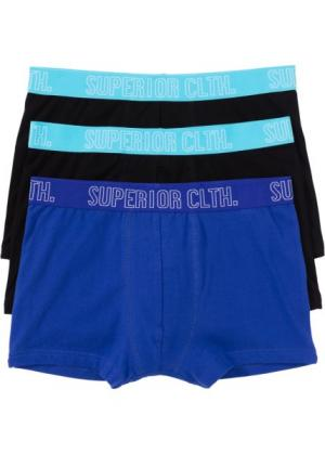 Трусы-боксеры (3 шт.) (черный/сапфирно-синий/карибский синий) bonprix. Цвет: черный/сапфирно-синий/карибский синий