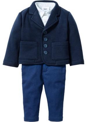 Мода для малышей: пиджак + рубашка брюки (3 изд.) (темно-синий/белый) bonprix. Цвет: темно-синий/белый