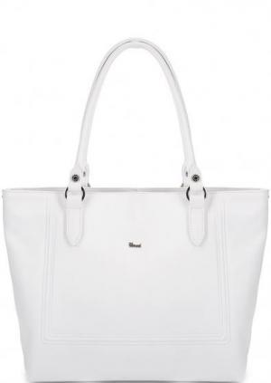 Белая кожаная сумка с длинными ручками Bruno Rossi. Цвет: белый