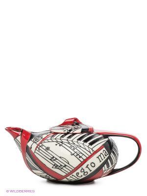 Заварочный чайник Виртуоз Pavone. Цвет: белый, красный, черный