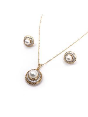 Комплект Жемчужный остров Honey Jewelry. Цвет: золотистый