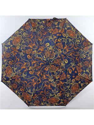 Зонт Zest, 3 слож, ПолнАвто, П-Э Zest. Цвет: синий, серо-коричневый