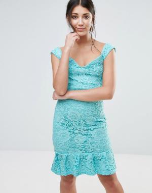 Paper Dolls Платье с широким вырезом и баской по низу. Цвет: синий