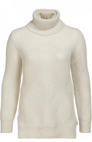 Кашемировый пуловер фактурной вязки с высоким воротником Colombo. Цвет: белый