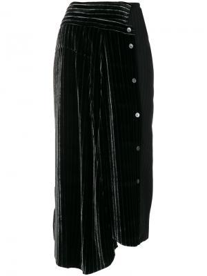 Асимметричная юбка миди в полоску Aalto. Цвет: чёрный