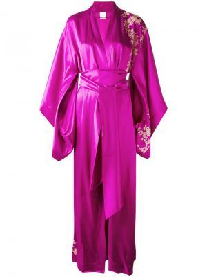 Длинное кимоно с кружевом Carine Gilson. Цвет: розовый и фиолетовый