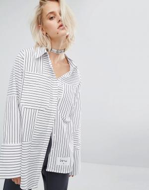 KKXX Полосатая рубашка со ступенчатым краем. Цвет: синий