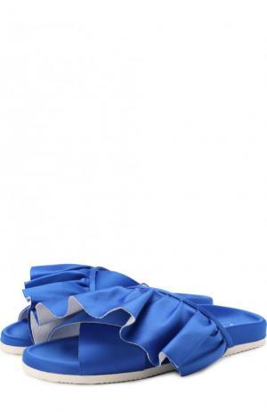 Текстильные шлепанцы Ruffle с оборками Joshua Sanders. Цвет: синий