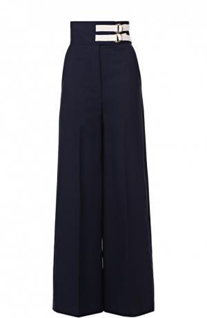 Широкие брюки с завышенной талией и контрастной отделкой Marni. Цвет: темно-синий