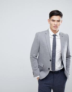 Burton Menswear Серый зауженный блейзер. Цвет: серый