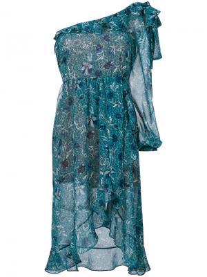 Асимметричное платье с рюшами For Love And Lemons. Цвет: зелёный