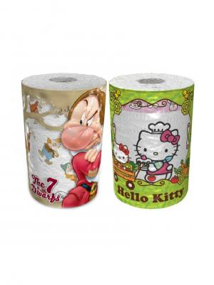 Набор из 2х бумажных полотенец 7 гномов и Hello Kitty 3-х слойные, 2 рул/150 листов World Cart. Цвет: белый