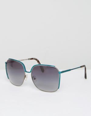 Matthew Williamson Большие солнцезащитные очки Peacock Shine. Цвет: синий