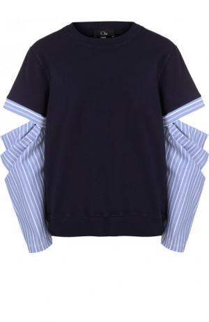Свитшот с разрезами на рукавах и круглым вырезом Clu. Цвет: синий