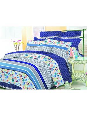Комплект постельного белья 1,5 сп. сатин, рисунок 678 LA NOCHE DEL AMOR. Цвет: синий