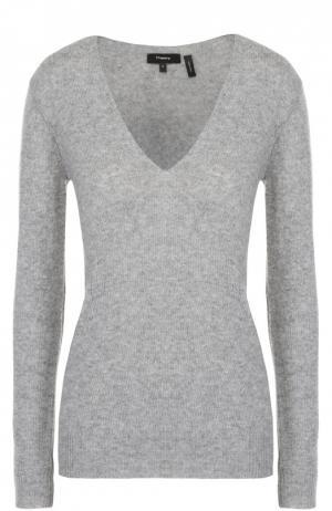 Кашемировый пуловер с V-образным вырезом Theory. Цвет: светло-серый