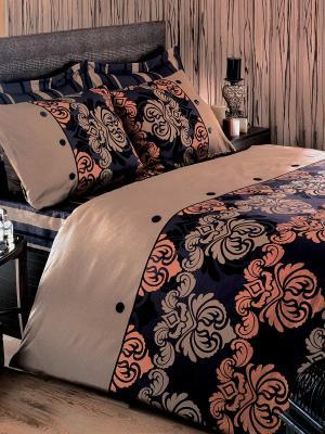 Постельное белье Дюбарри Тет-а-Тет. Цвет: черный, бежевый, оранжевый