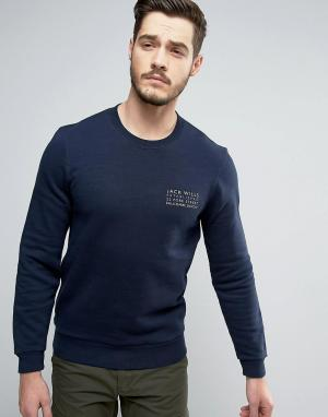 Jack Wills Темно-синий свитшот с логотипом Hatton. Цвет: темно-синий