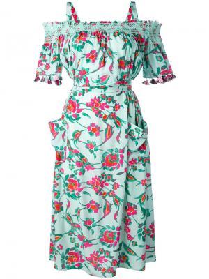 Платье с открытыми плечами и цветочным принтом Tanya Taylor. Цвет: зелёный
