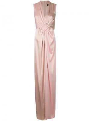 Длинное платье со сборками Paule Ka. Цвет: розовый и фиолетовый