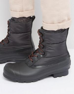 Hunter Стеганые ботинки на шнуровке Original. Цвет: черный
