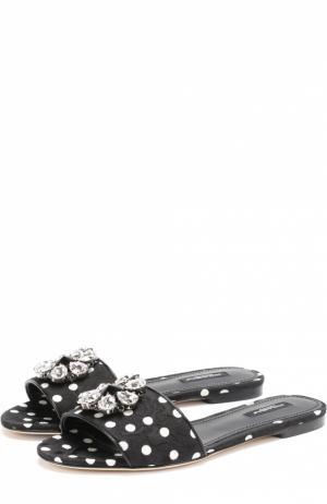 Шлепанцы Bianca из текстиля с кристаллами Dolce & Gabbana. Цвет: черный