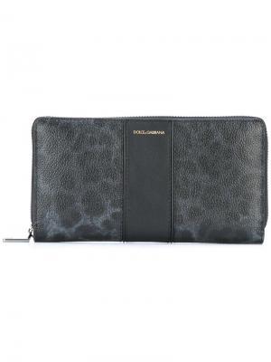Удлиненный кошелек с леопардовым рисунком Dolce & Gabbana. Цвет: чёрный
