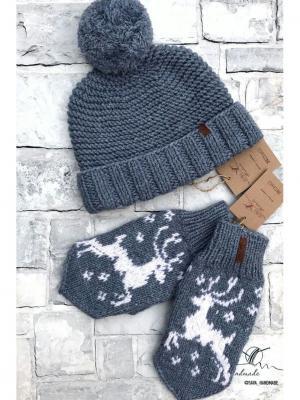 Комплект: шапка, варежки Sava. Цвет: серо-голубой