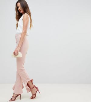 ASOS Tall Брюки слим с клешем Tailored. Цвет: розовый