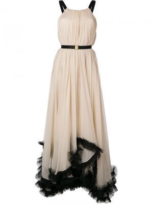 Вечернее платье с борками Maria Lucia Hohan. Цвет: белый