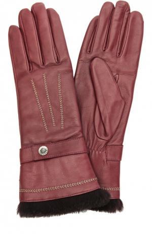Кожаные перчатки с отделкой из меха кролика и декоративной прострочкой Agnelle. Цвет: бордовый