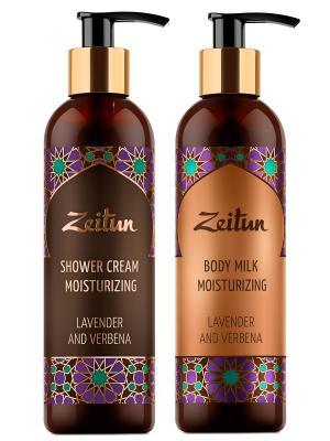 Набор Лаванда и вербена гель для душа молочко тела Зейтун. Цвет: молочный