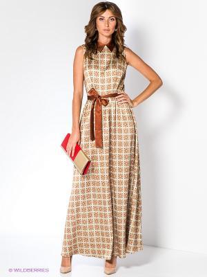 Платье Анна Чапман. Цвет: оливковый, светло-коричневый