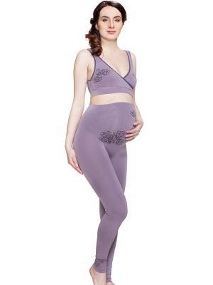 Леггинсы бесшовные для беременных ФЭСТ. Цвет: сиреневый