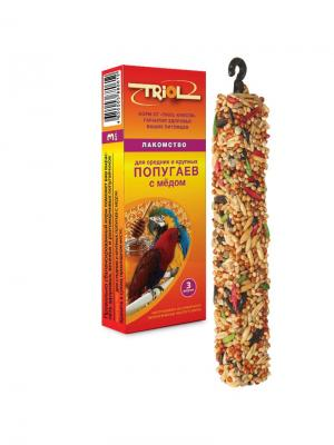 Лакомство для средних и крупных попугаев с мёдом (уп. 3 шт) TRIOL. Цвет: оранжевый