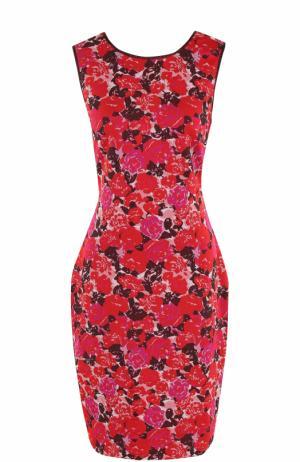 Приталенное мини-платье с цветочным принтом St. John. Цвет: красный