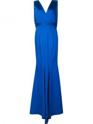 Длинное платье Santia Zac Posen. Цвет: синий