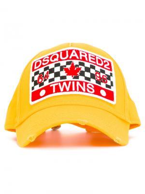 Бейсбольная кепка с нашивкой Dsquared2. Цвет: жёлтый и оранжевый