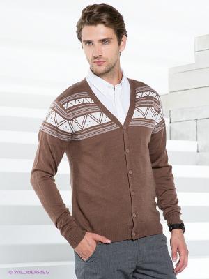 Кардиган Al Franco. Цвет: коричневый, белый