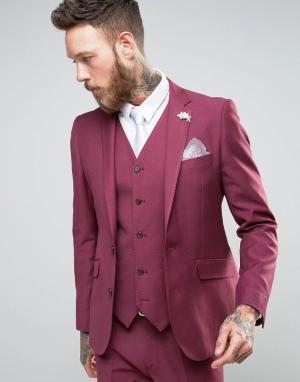 Devils Advocate Бордовый приталенный пиджак с цветком на лацкане Weddi. Цвет: розовый