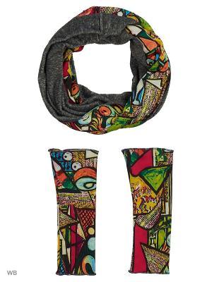 Комплект из снуда-мебиуса и митенок трикотажного меха Оланж Ассорти. Цвет: серый меланж, оранжевый, розовый, желтый, зеленый