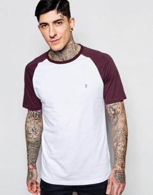 Farah Эксклюзивная футболка слим с контрастными рукавами реглан. Цвет: красный