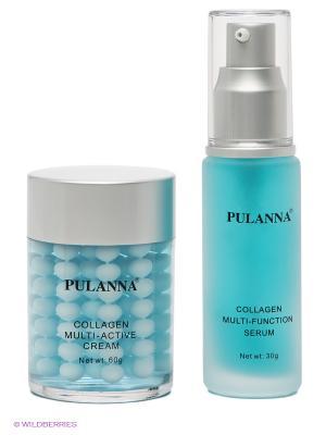 Подарочный набор -Collagen Cosmetics Set (2 предмета) PULANNA. Цвет: голубой