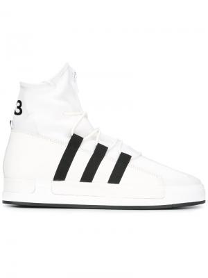Хайтопы со шнуровкой и молнией Y-3. Цвет: белый