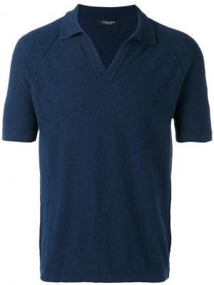 Рубашка-поло с короткими рукавами Roberto Collina. Цвет: синий