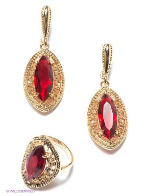 Комплект Lovely Jewelry. Цвет: золотистый, бордовый