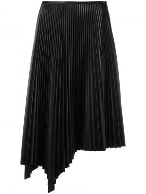 Асимметричная плиссированная юбка Cédric Charlier. Цвет: чёрный