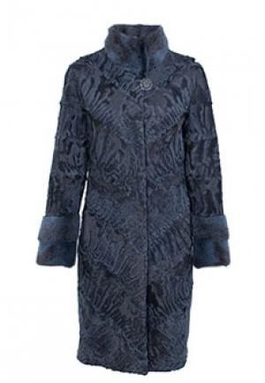 Меховое пальто каракуль BELLINI. Цвет: голубой