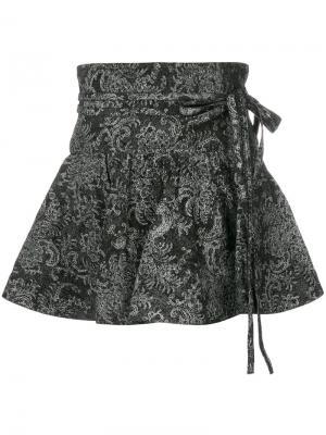 Расклешенная мини юбка с цветочным принтом Marc Jacobs. Цвет: чёрный