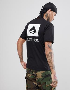 Emerica Черная футболка с принтом на спине. Цвет: черный